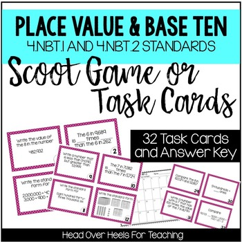 Place Value Scoot Game {Task Cards} 4.NBT.1 & 4.NBT.2