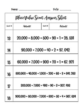 Place Value Scoot - Grade 4 ANSWER KEY