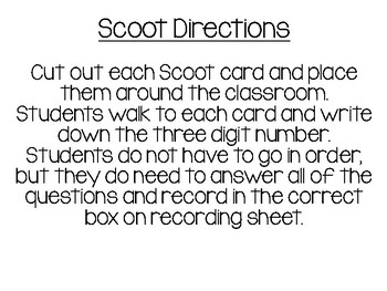 Place Value Scoot - Ones, Tens, Hundreds