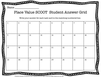 Place Value Scoot and Task Cards