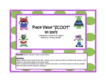 """Place Value """"Scoot"""" to the 100's"""