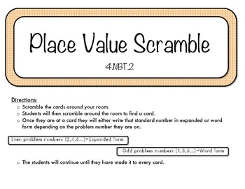 Place Value Scramble- Task Cards