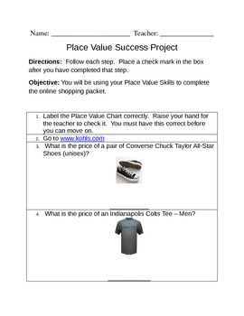 Place Value Shopping Project