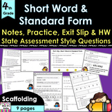 Place Value:  Short Word Form and Standard Form Complete Lesson (#4 in Unit)