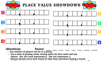 Place Value Showdown with Decimals - Center or Class Game