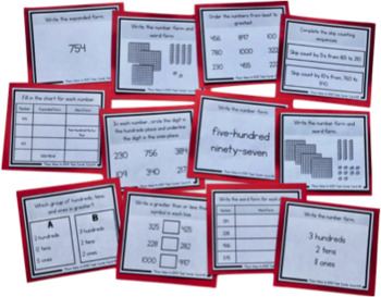 Place Value Skills with Numbers to 1000: Place Value Task Cards for Second Grade