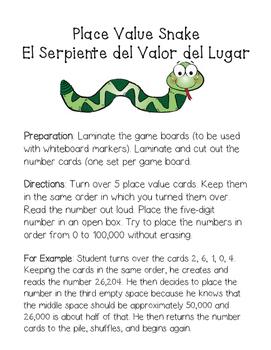 Place Value Snake Bilingual - Place Value