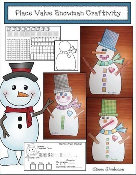 "Snowman Activities: ""Place Value Snowman Craft"" (Great Math Bulletin Board)"