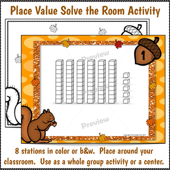 Place Value Solve the Room Activity for Fall