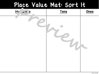 Place Value Sort Mat Hundreds Tens and Ones