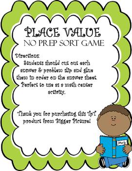 Place Value Sort No Prep Activity