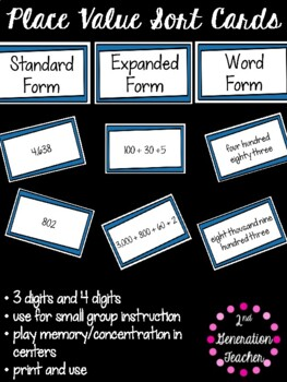 Place Value Sort and Game Cards