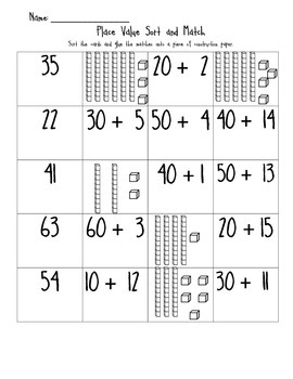Place Value Sort and Match
