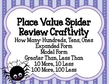 Place Value Spider Review Low Prep Craftivity 2nd Grade