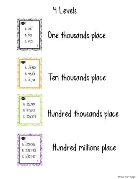 Place Value Spidery Task Cards