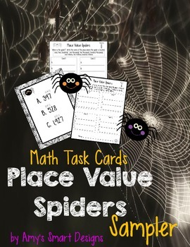 Place Value Spidery Tasks Cards Sampler
