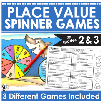 Place Value Spinner Game- Low-Prep Ocean Themed