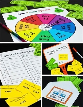Place Value Spinner Math Games with Task Cards