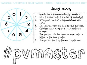 Place Value Spinner- Purposeful Practice for third-fifth grade