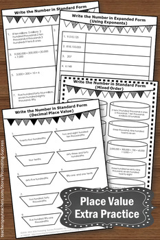 Value Worksheets Standard and Expanded Form, 5th Grade Math Review