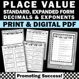 5th Grade Place Value Worksheets Standard Form and Expanded Form + Decimals