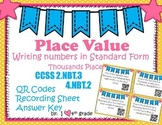 Place Value  Standard Form SCOOT Game  QR Codes CCSS 2.NBT.A.3 & 4.NBT.A.2