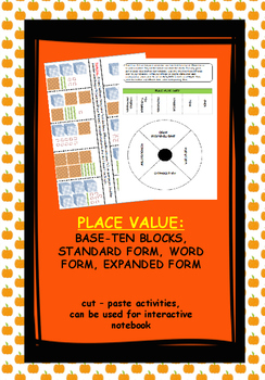 Place Value: Standard form, word form, expanded form, cut-paste activities