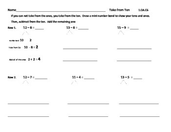 Place Value Strategy: Take From Ten: Work Mats and Practice Pages Gr. 1 and 2