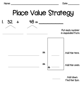 Place Value Strategy Three Digit & Two Digit Numbers