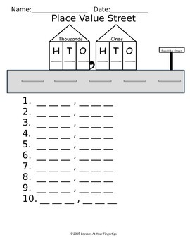 Place Value Street Worksheet