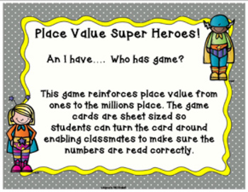 Place Value Super Heroes