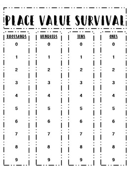 Place Value Survival Game