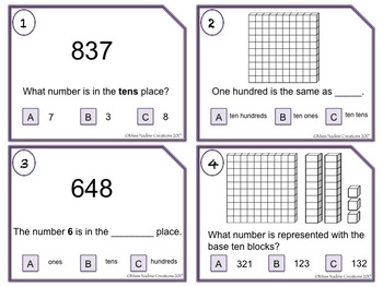 Place Value-TASK CARDS for Math Centers- 2nd Grade 2.NBT.A.1a/b