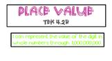 Place Value  whole numbers through one billion TEK 4.2