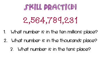Place Value  whole numbers through one billion TEK 4.2