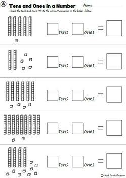 tens and ones place value 100 worksheets by made for the classroom. Black Bedroom Furniture Sets. Home Design Ideas