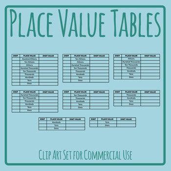 Place Value Tables Template Clip Art Set Commercial Use