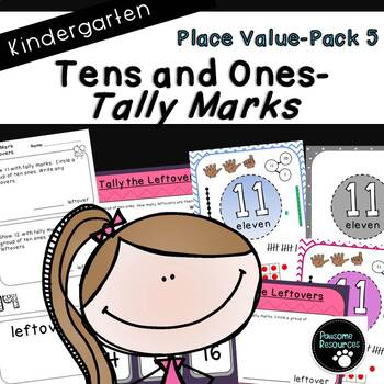 Place Value Tally Marks-Pack 5 (Kindergarten-K.NBT.1)