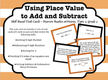 Place Value Task Card - Pearson Realize enVisions, Topic 3, Grade 3
