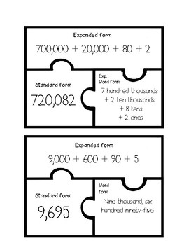 Place Value Task Card Puzzle