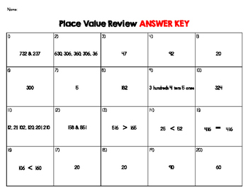 Place Value Task Card Review