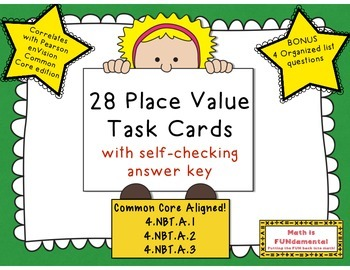 Place Value Task Card Review - Correlates with enVision Math Grade 4 Common Core