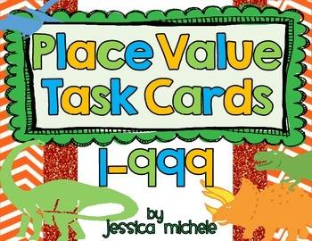 Place Value Task Cards 1-999 {Dinosaur Theme}