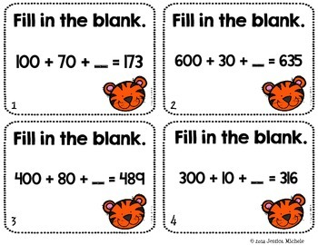 Place Value Task Cards 1-999 {Zoo Animal Theme}