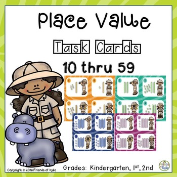 Place Value Task Cards 10 thru 59 (100 Task Cards)