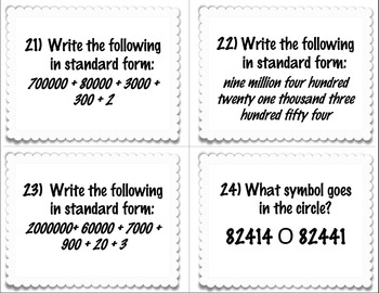 Place Value Task Cards, Worksheet, and Answer Key