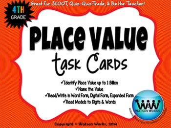 Place Value Task Cards - 4th Grade