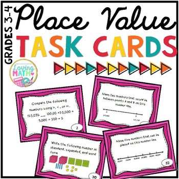 Place Value Task Cards for 3rd and 4th Grades