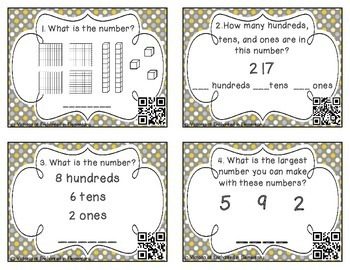 Place Value Task Cards 2: Hundreds Tens & Ones: 2nd Gr CC:Understand place value