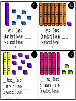 Place Value Task Cards (2 digit numbers)/Math Centers